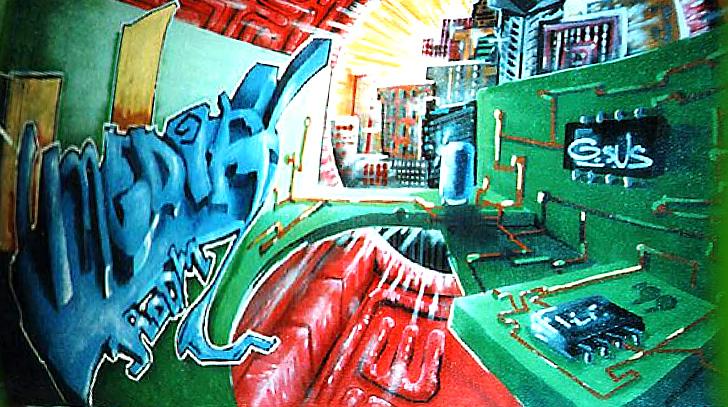 Graffitibild an den Wänden eines Medien- und Schnittraum eines Jugendzentrums.