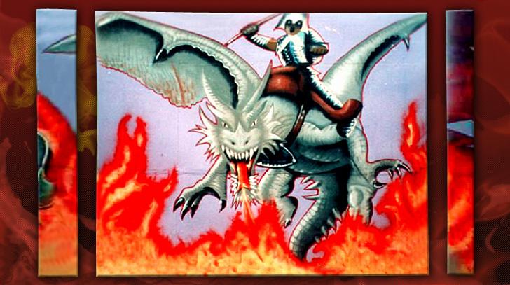 Graffitibild eines apokalytischen Drachenreiters auf einem riesigen Triptychon.