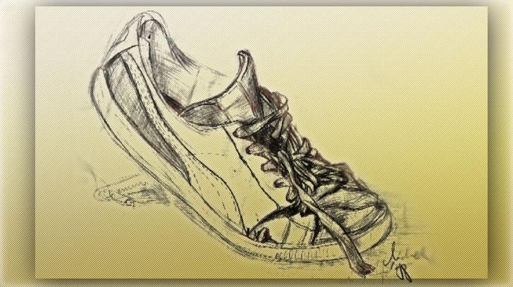 Bleistiftskizze eines abgetragenen Puma-Sneakers